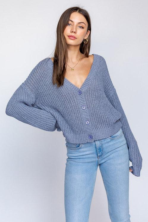 Blue Button Sweater