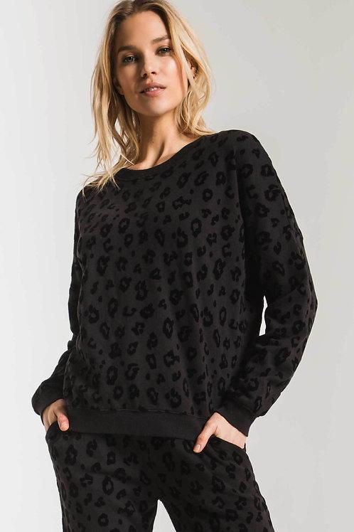 Black Animal Print Sweatshirt