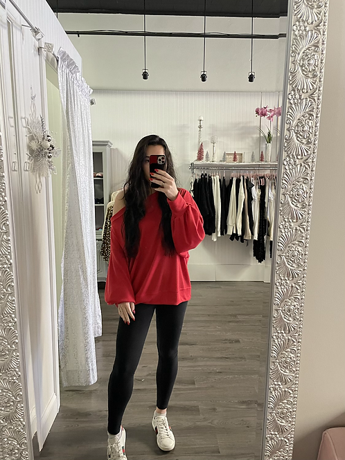 Red off the shoulder waffle knit shirt