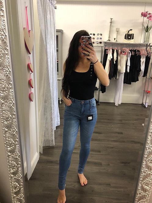 Mid Rise Raw Hem Jeans
