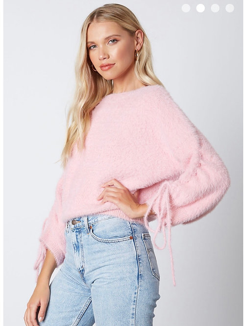 Pink Rouched Sleeve Sweater
