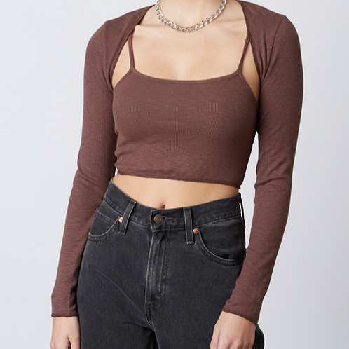 Two-Piece Ribbed Tank and Cardigan