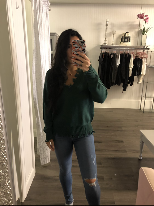 Green Distressed Sweater