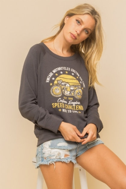 MOTORCYCLE SUB PRINT SO SOFT  FLEECE SWEATSHIRT TOP