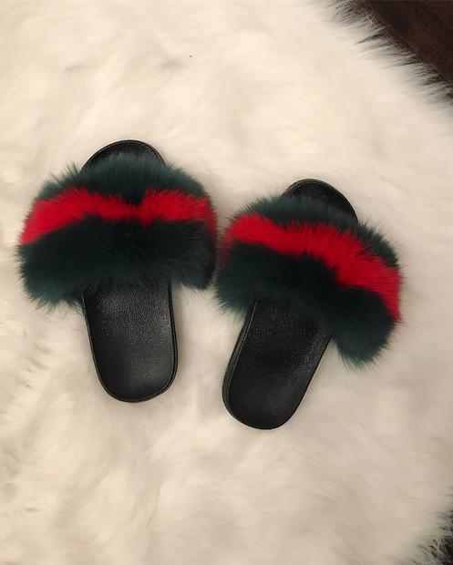ec0d84bdbc8 Gucci Inspired Fox Fur Slides