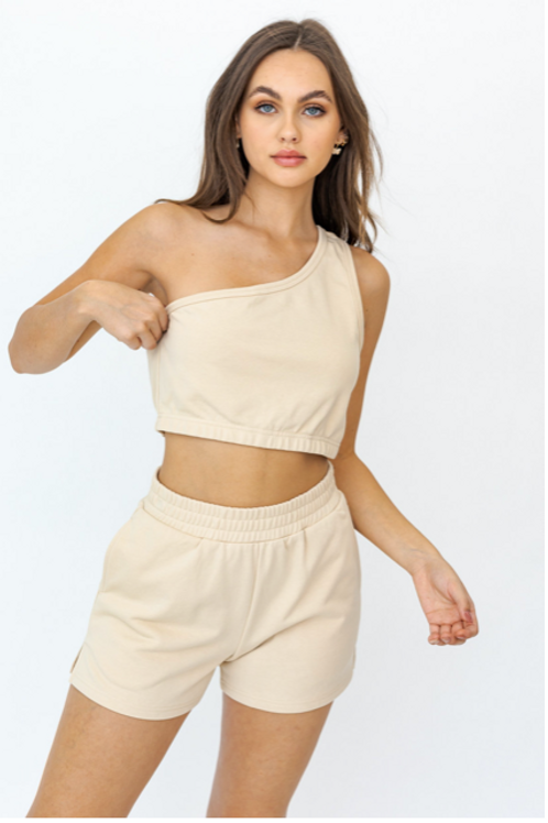 One Shoulder Nude Crop Top (Matching Set)