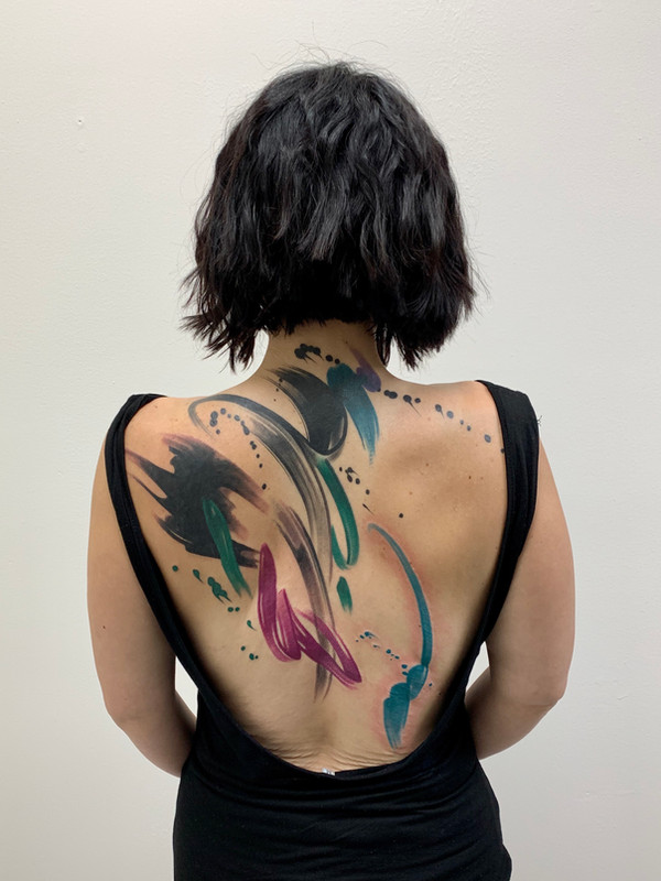 Brushstroke Back Tattoo