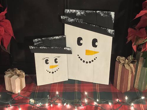 Decorative Wooden Snowmen