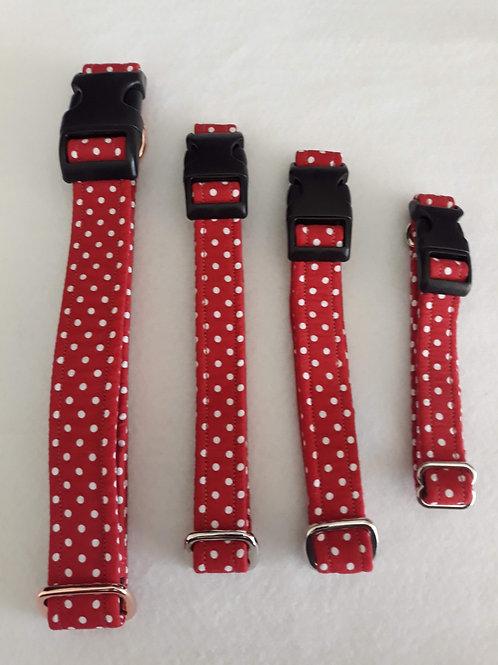 Red / White Polka Dot Dog Collars