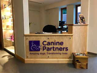 Canine Partners smart new reception area. One of two donated Bowl Risers perfectly placed