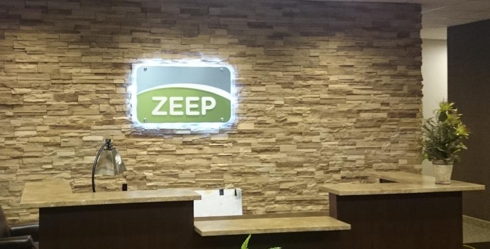 Zeep Reception area sign
