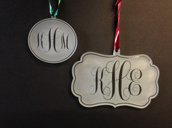 Mongrammed Ornaments and Mirror Tags
