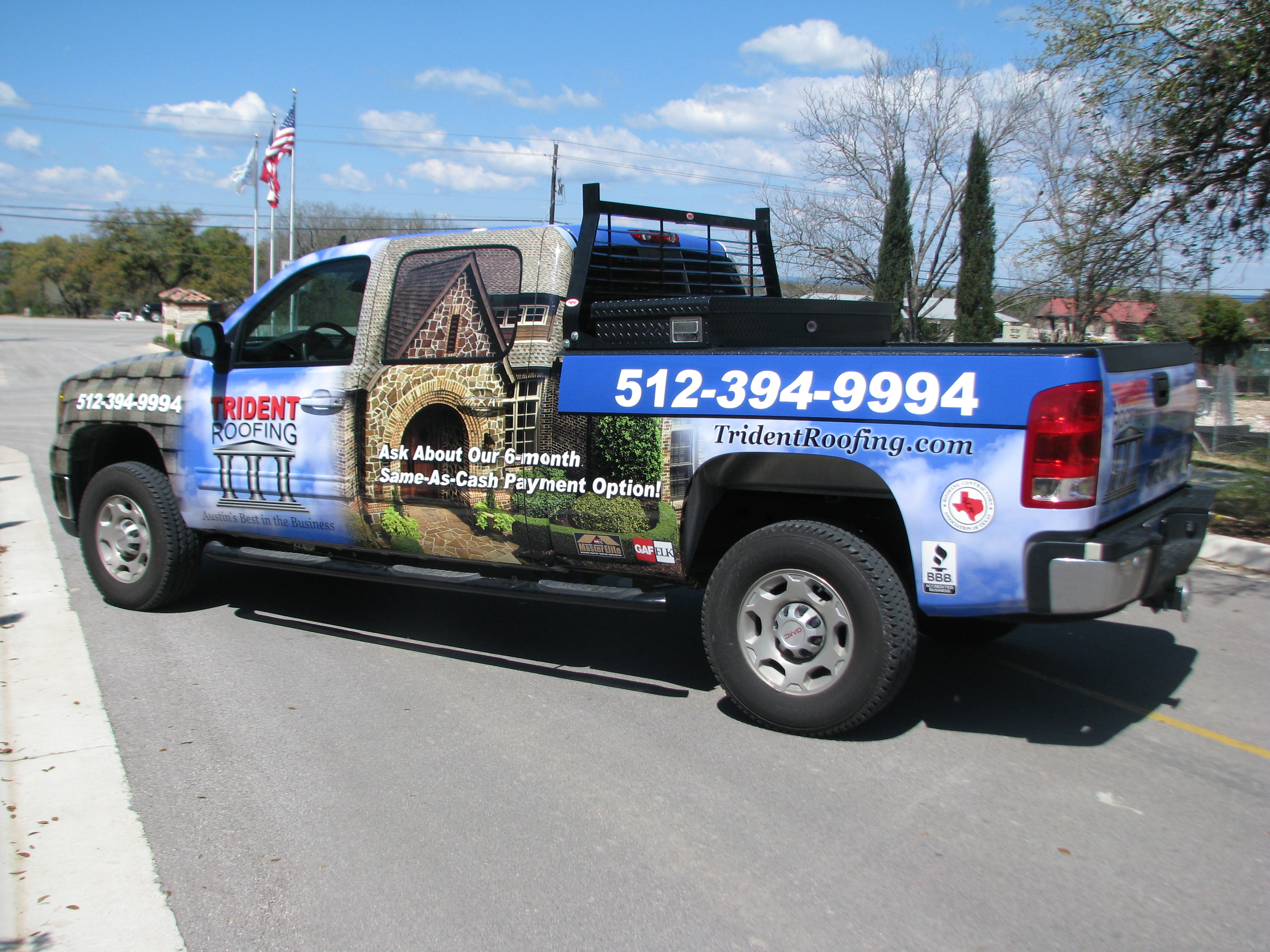 Trident Roofing Designed Truck Wrap
