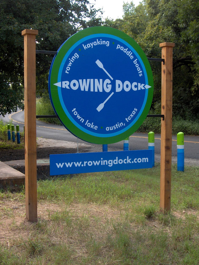 Rowing Dock round wood sign