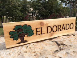 La Hacienda Engrave and Painted Wood