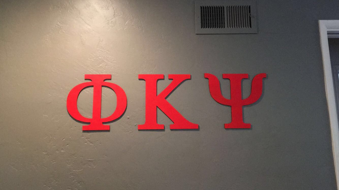 Frat Letters cut out of wood