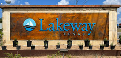 city of lakeway sign rusted metal