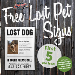 Free Lost Pet Signs