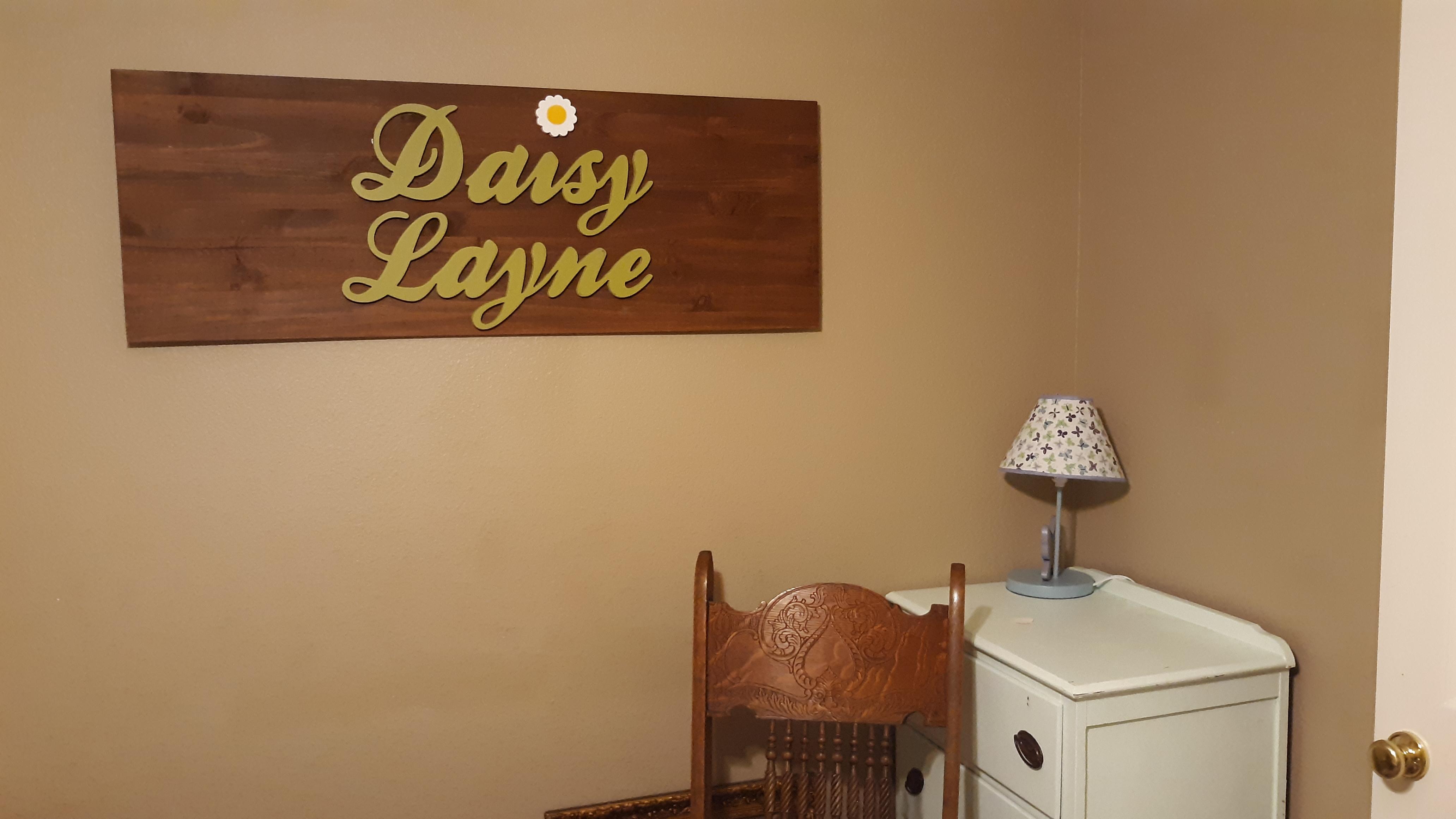 nursery wall name sign on wood
