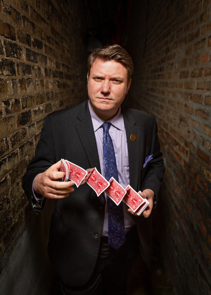 Chicago Magic Lounge Photography. Magician Portraiture by Trainman Photography.