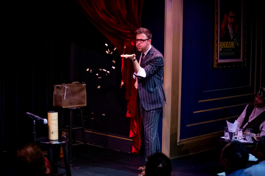 Magician Ryan Plunkett Performing on the Harry Blackstone Cabaret Stage at the Chicago Magic Lounge