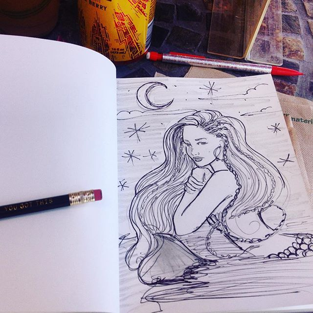 Morning doodles! All I want to do is paint mermaids!! #coralynnarcandart #mermaid #maui #lahaina #ca