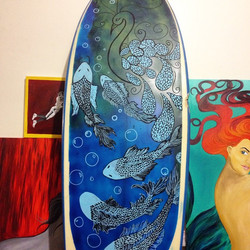 This will be for sale when it's done #art #artboard #surfboard #coralynnarcandart #beachart #brokenb