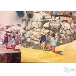 So happy they loved it! #artist #artlife #beach #bridal #beachgirl #cali #commissionwork #coralynnar