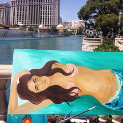 Live painting at the #bellagio #mermaid #travelingartist #coralynnarcandart #beachgirl #lasvegas #lo