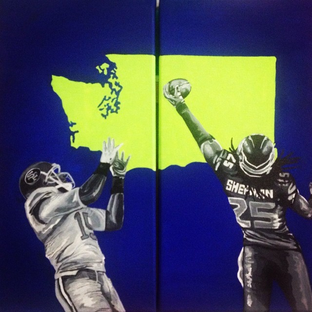 This painting was done during the last  Super Bowl, loved how it turned out! _rsherman25 #seahawks #