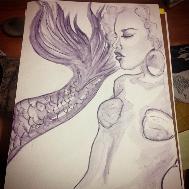 One sexy #mermaid #watercolor #fashionillustration #coralynnarcandart #boho #different