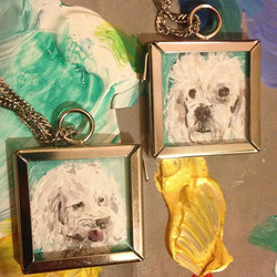 Hey _somers2, your itty bitty baby dog portrait necklaces are done! 😘💞🐶_#coralynnarcandart #custo