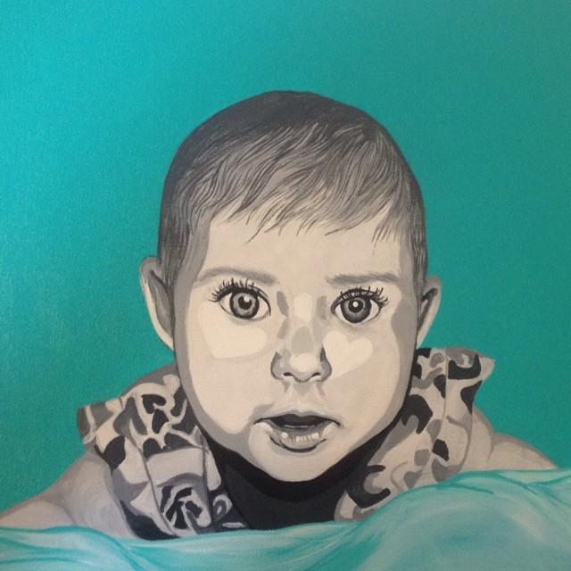#coralynnarcandart #babyportrait #portrait #gerberbaby #dahlia #acrylic #art #painting #paint #dowha