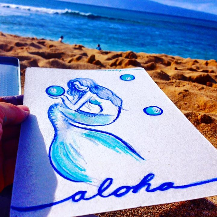 Aloha! From your salty, sandy, beach artist! 4 days on Maui and I already have 2 jobs in the works,