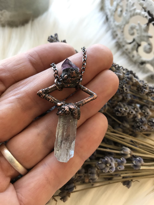 Auqamarine and amethyst crystal copper necklace