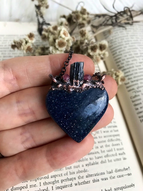 Rare Lazulite heart with rubies and indigo kyanite crystal necklace