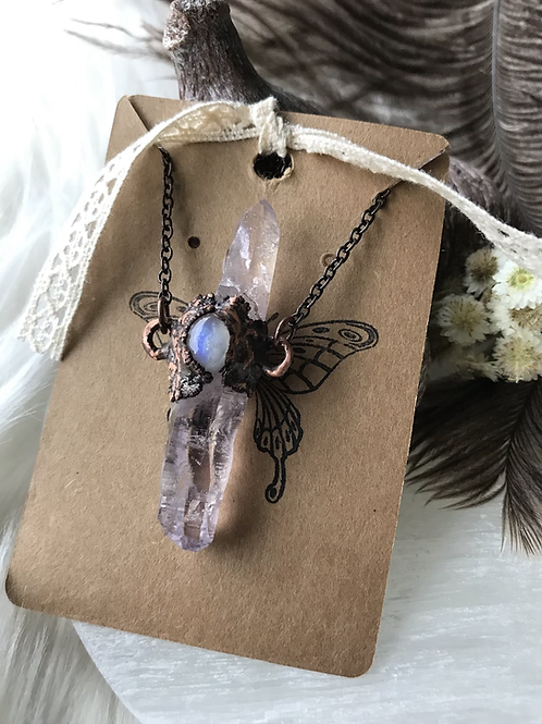 Double terminated Vera Cruz amethyst crystal and moonstone necklace