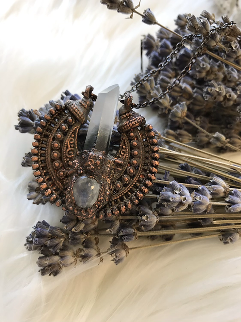 BC Forest quartz Crystal and moonstone crown pendant