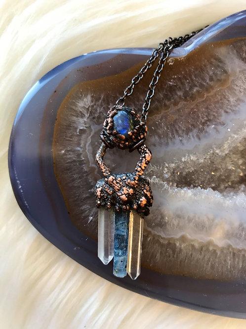 Labradorite quartz Crystal and indigo kyanite necklace