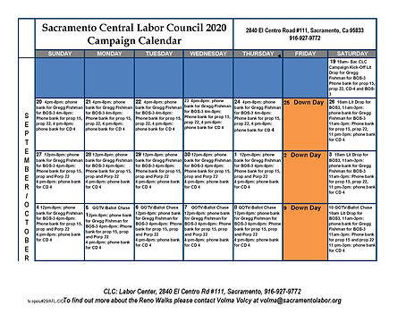Sac CLC's 2020 General Election Calendar
