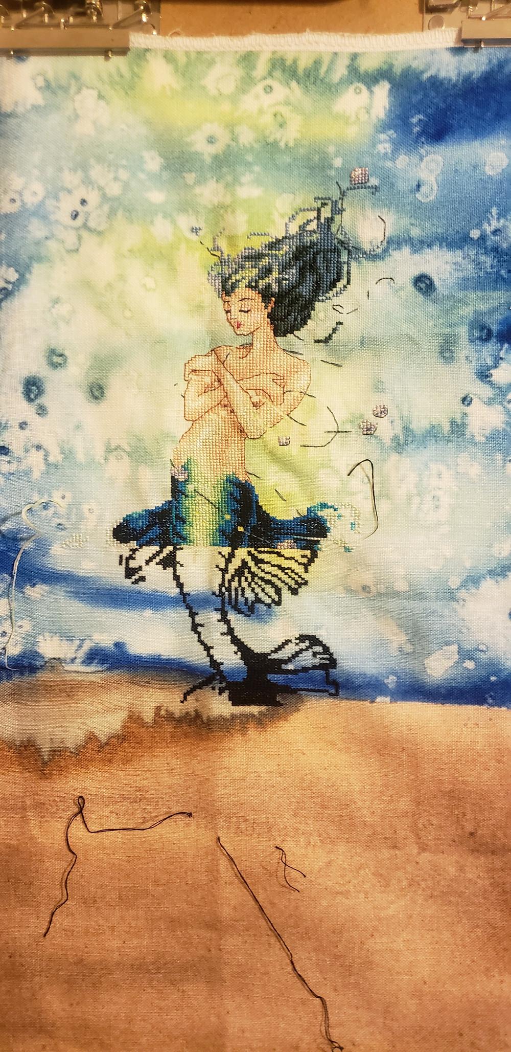 Mirabilia Aphrodite Mermaid on Under Da Sea fabric by Far Away Designs