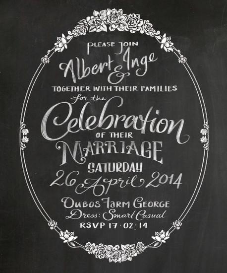 Chalk Lettered Wedding Invitation