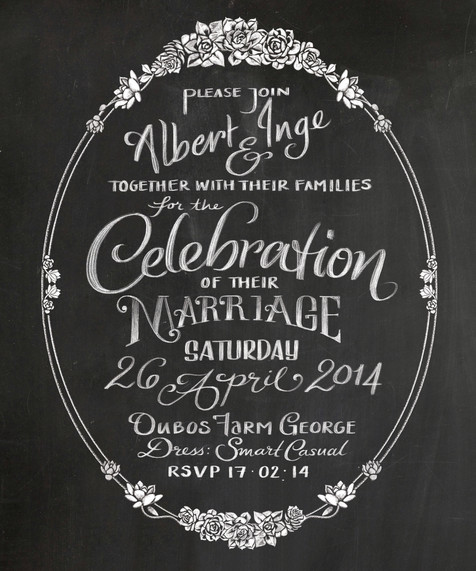 Chalk Lettered Wedding Invitation