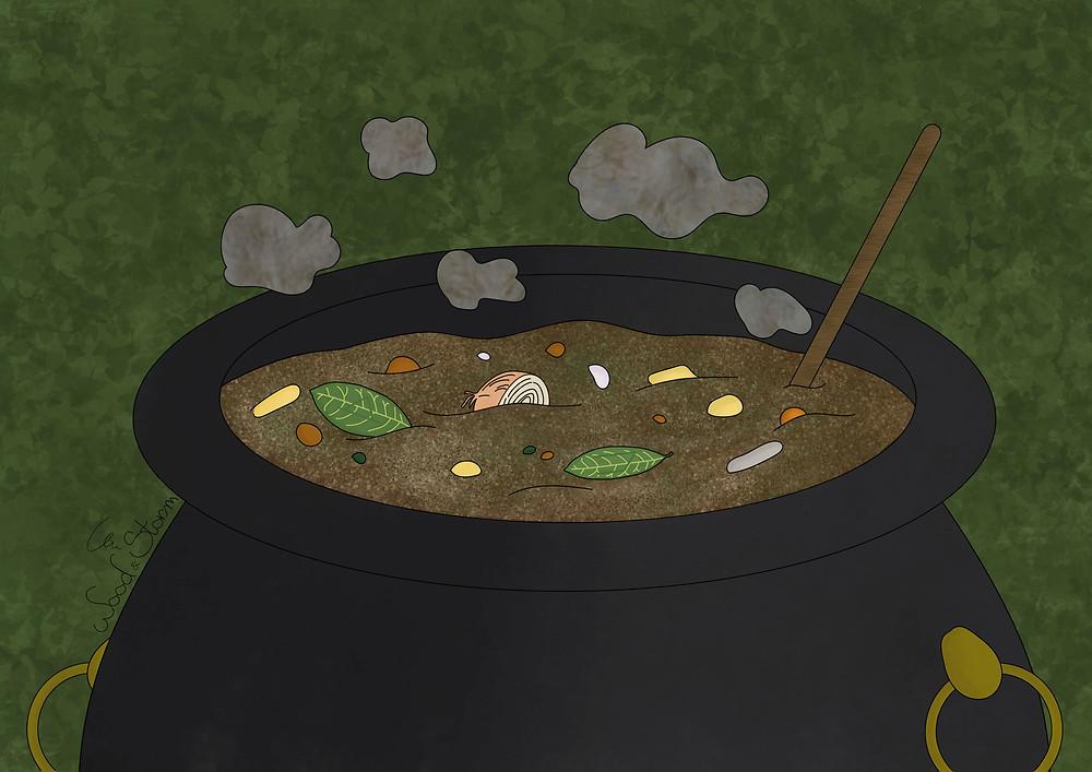 Illustration d'un chaudron rempli de ragoût