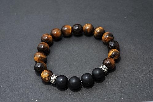 Bracelet Homme Oeil de tigre et Onyx