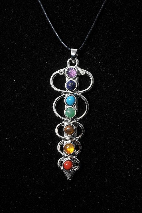 Pendentif 7 Chakras - Pendentif 7 chakra vraies pierres