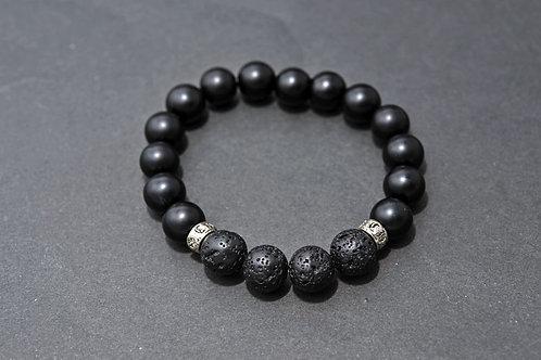 Bracelet Homme Onyx et lave