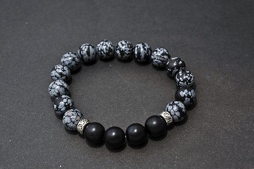Bracelet Homme Obsidienne et Onyx