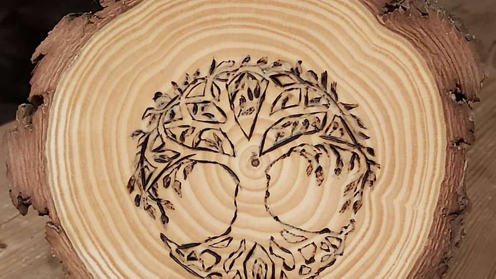 Tree of Life Pyrography Plaque