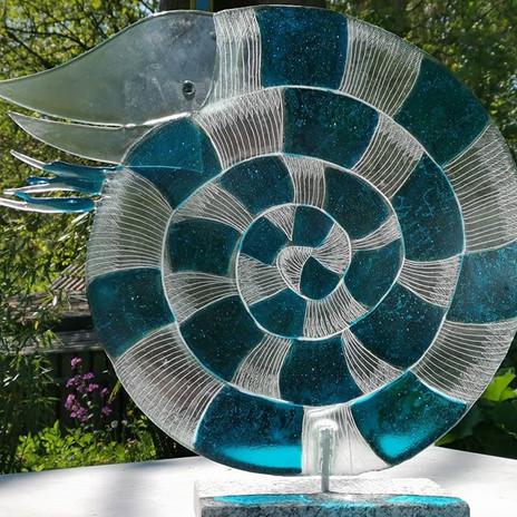 Großer Nautilus aus Recyclingglas, nauti